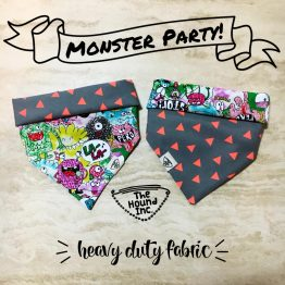 monster party orange dog bandana