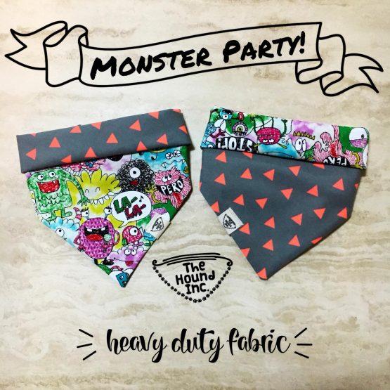 monster party orange dog bandana